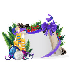 paper scroll with purple bow candles and vector image vector image