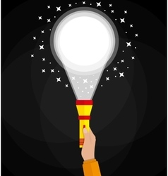 Simple flashlight and hand vector image