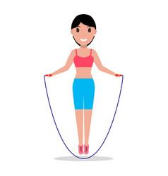 cartoon girl jumping on a skipping rope vector image