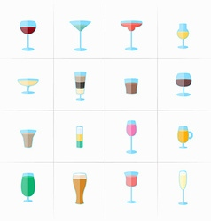 Drink glass icons vector image vector image