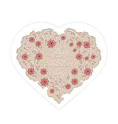 Floral heart with handwritten inscription vector image vector image