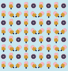 ice cream seamless pattern with lemon on blue vector image