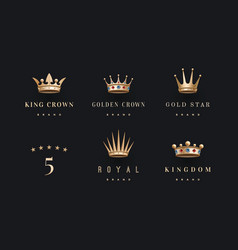 Set of royal gold crowns icon and logo vector image