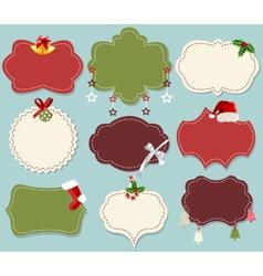 Vintage christmas label banner set vector image