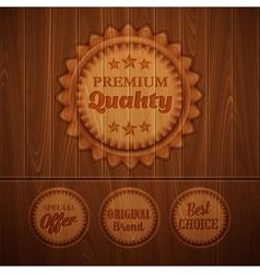 Badges on wooden background vector image