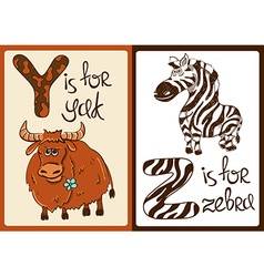 Children Alphabet with Funny Animals Yak and Zebra vector image vector image