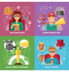 Cinema 2x2 Design Concept Set vector image vector image