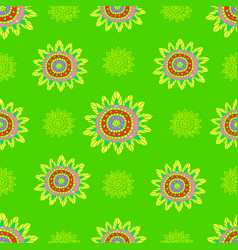 ethnic doodle abstract flowers seamless pattern vector image