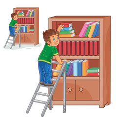 little boy standing on the ladders and vector image vector image
