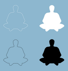 Meditation man the black and white color icon vector