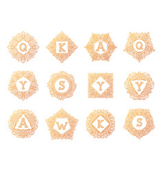monogram bage logo text letter vector image vector image