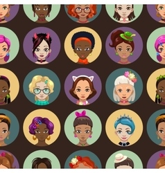 Stylish fancy seamless pattern with girls faces vector image