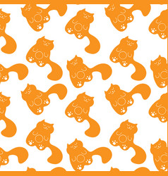 cute seamless pattern with sleepy ginger cats vector image