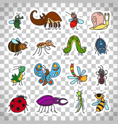 funny insects stickers on transparent background vector image