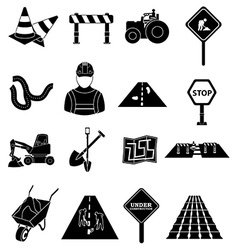 Road construction icons set vector image