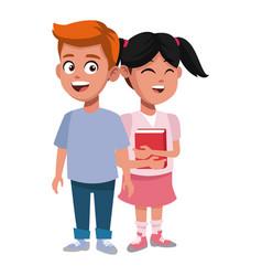 school kids friends cartoon vector image vector image
