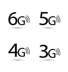 6g 5g 4g 3g internet icons set vector