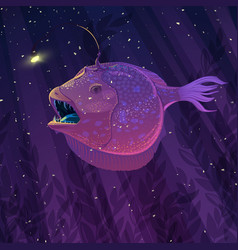 Angler fish in underwater scene vector