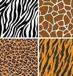 Animal set giraffe leopard tiger zebra seamless vector