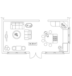 Architectural set of furniture Interiors elements vector
