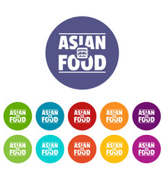 Asian food icons set color vector