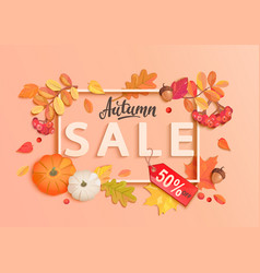 autumn sale banner with frame and fall elements vector image