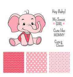 Baby girl elephant design with seamless patterns vector
