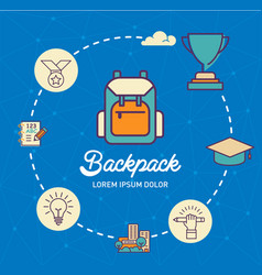 Backpack infographic design with icons vector