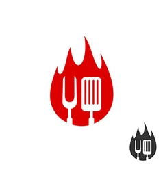 BBQ icon logo Grill fork and spatula on a fire vector