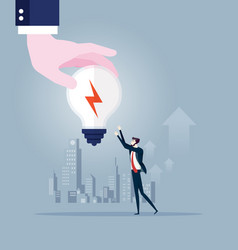 big hand gives idea light bulb to businessman vector image