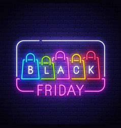 black friday neon sign bright signboard vector image