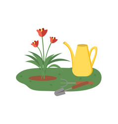 blooming plant and tools for cultivation vector image