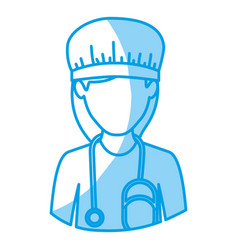 Blue silhouette with half body of faceless nurse vector