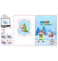 Bright card with santa claus and elf template vector