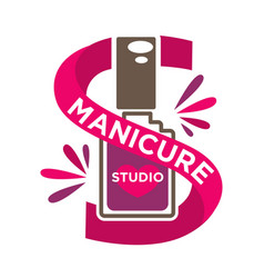Bright manicure studio label with purple vector