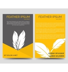 Brochure flyers template with feathers vector image
