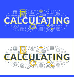 calculating flat line concept for web banner and vector image