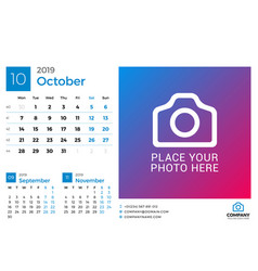 calendar for october 2019 design print template vector image