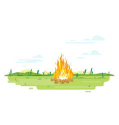 campfire on green lawn vector image