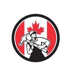 canadian handyman canada flag icon vector image