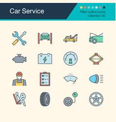 car service icons filled outline design vector image