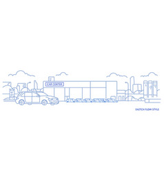 Cars dealership center showroom building exterior vector