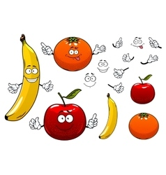 Cartoon apple orange and banana fruits vector