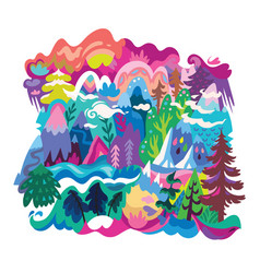 Cartoon nature landscape print in abstract vector