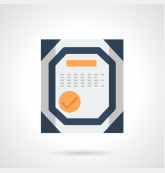 certificate flat color icon vector image