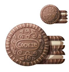 chocolate cookie 2 icon isolated vector image