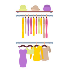 Clothes hanging on hangers in women clothing store vector