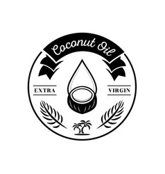 Coconut oil merge with old coconut fruit logo vector