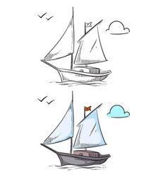 coloring ship hand drawn boat isolated on white vector image