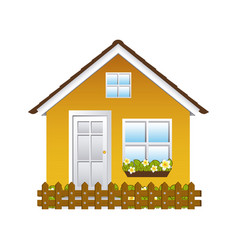 Comfortable yellow facade house with garden and vector